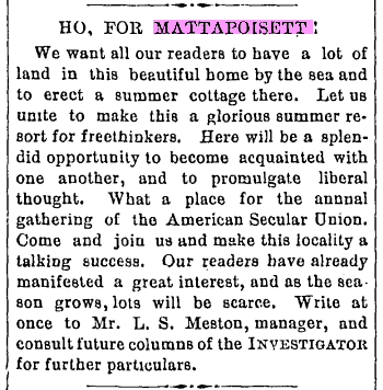 Ho For Mattapoisett, Boston Investigator; 3/7/1894